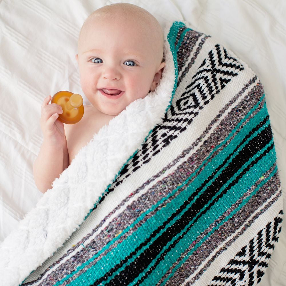 Baja Baby™ Mexican Baby Blanket - Classic Teal