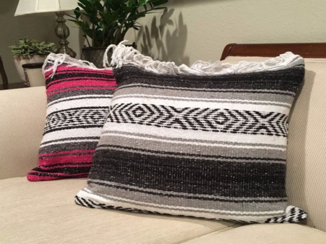Classic Mexican Blanket Pillow with Fringe - Del Mex - 2