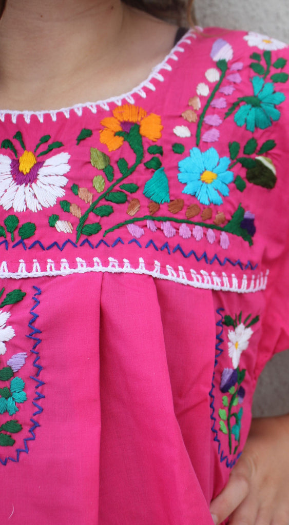 Embroidered Youth Dress: Pink - Del Mex - 3