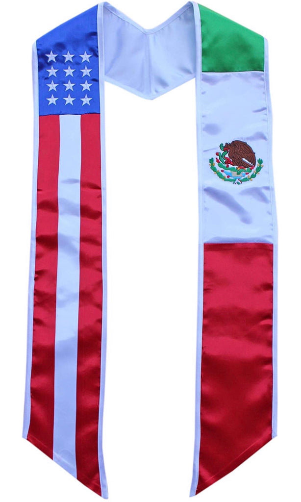 Mexican American Flag Graduation Sash Stole