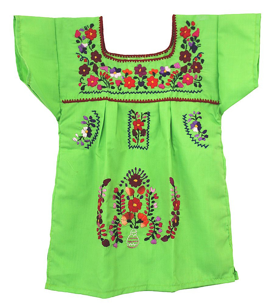 Embroidered Youth Dress: Lime & Purple - Del Mex - 2