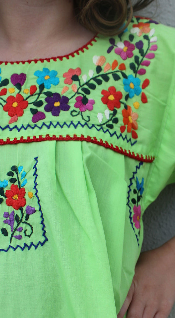 Embroidered Youth Dress: Lime & Purple - Del Mex - 3