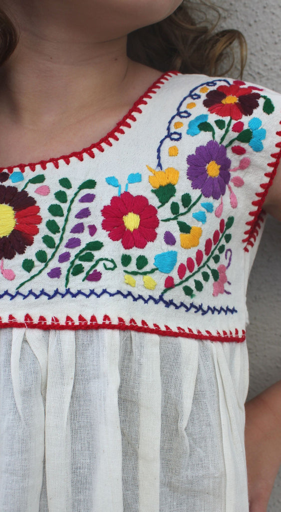 Embroidered Youth Dress: Natural Cotton (Muslin) - Del Mex - 2