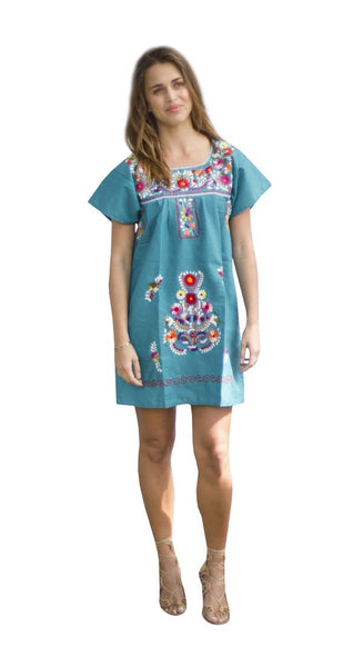 Mini Dress- Teal - Del Mex - 1