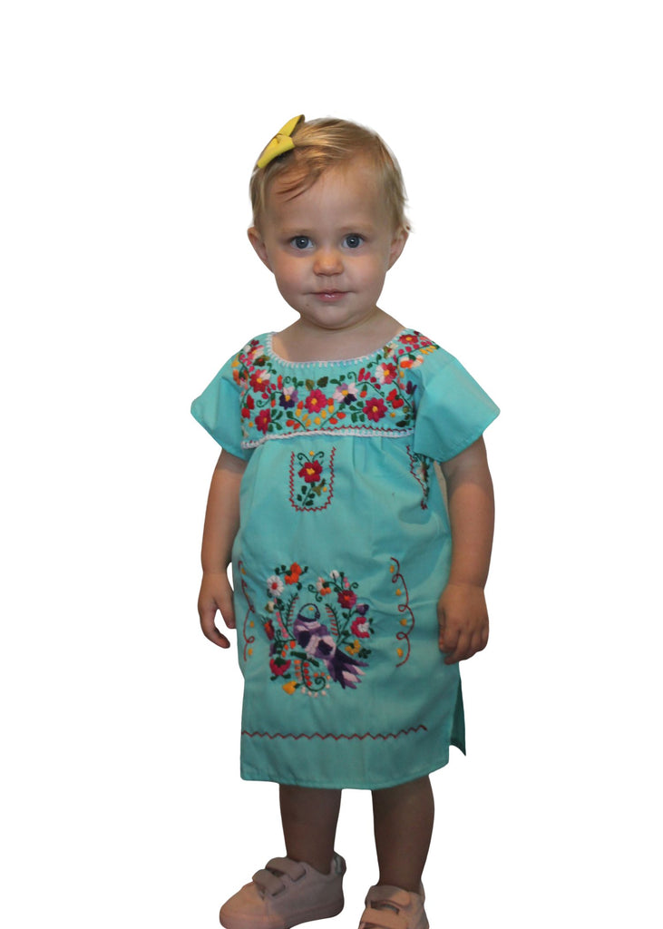 Embroidered Youth Dress: Mint