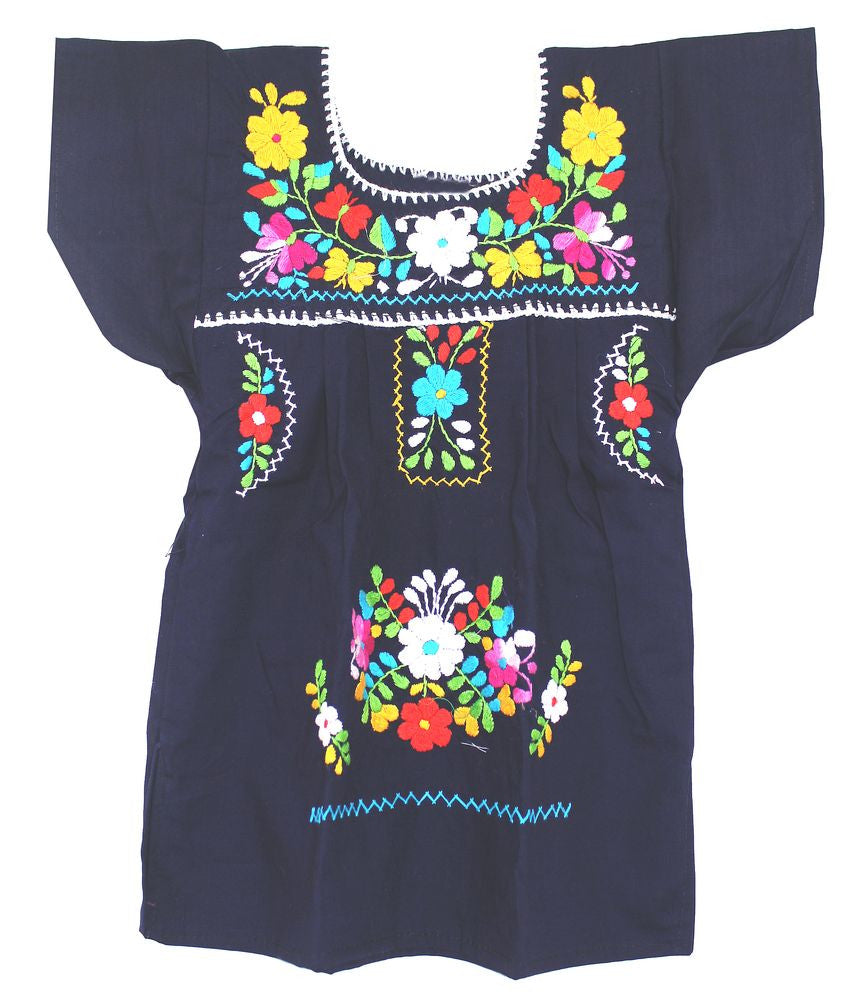 Embroidered Youth Dress: Navy Blue - Del Mex - 2