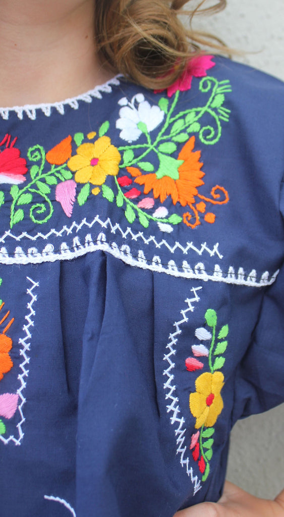 Embroidered Youth Dress: Navy Blue - Del Mex - 3