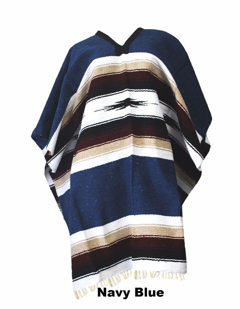 Del Mex Woven Diamond Eastwood Poncho- Navy Blue