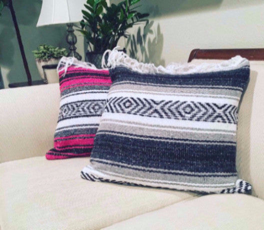 Classic Mexican Blanket Pillow with Fringe - Del Mex - 1