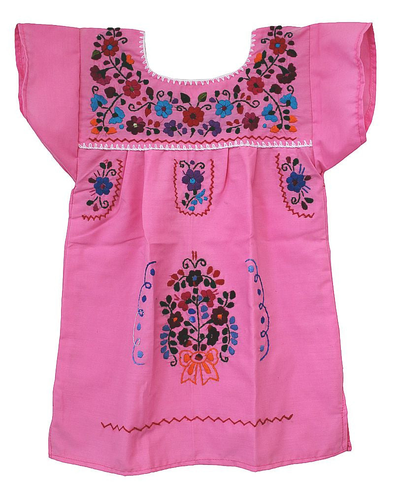 Embroidered Youth Dress: Light Pink - Del Mex - 3