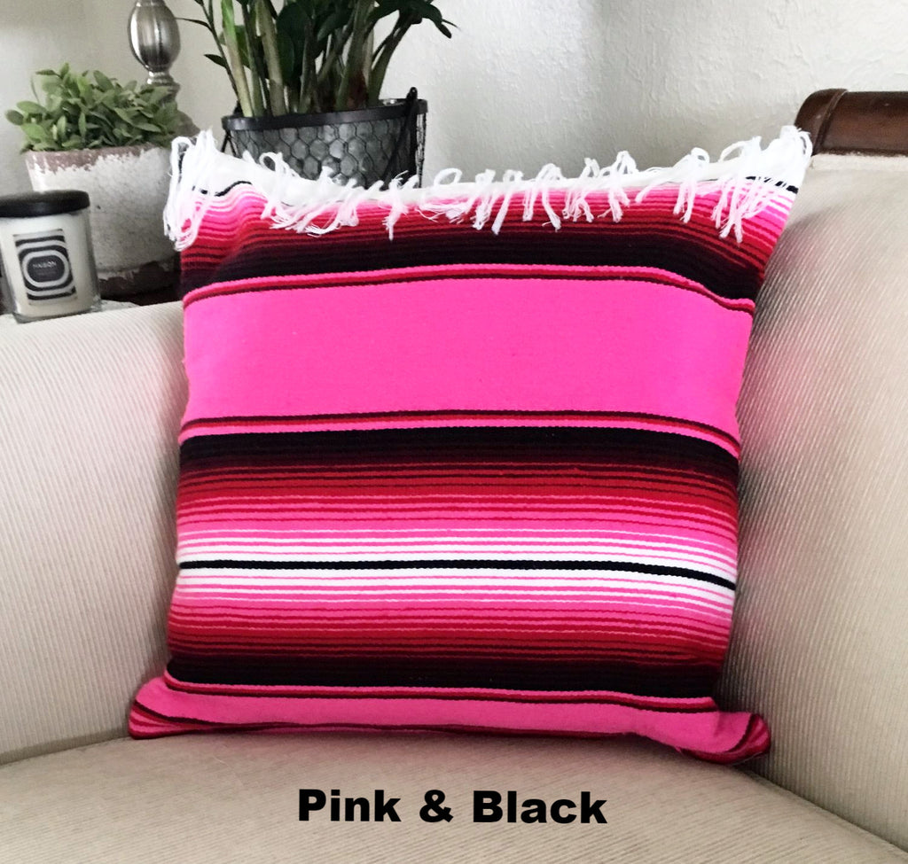 Serape Mexican Blanket Pillow with Fringe - Del Mex - 6