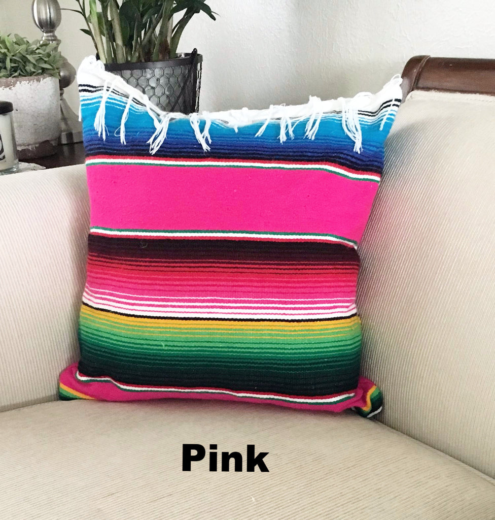 Serape Mexican Blanket Pillow with Fringe - Del Mex - 2