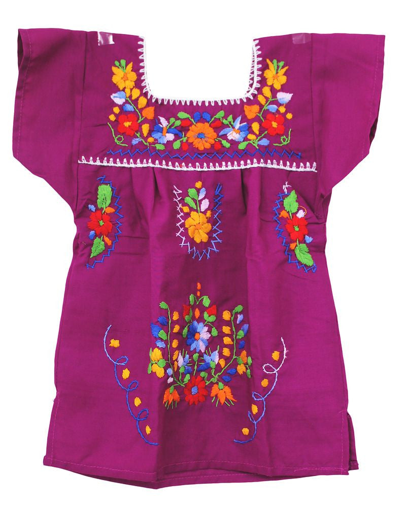 Embroidered Youth Dress: Plum - Del Mex - 2