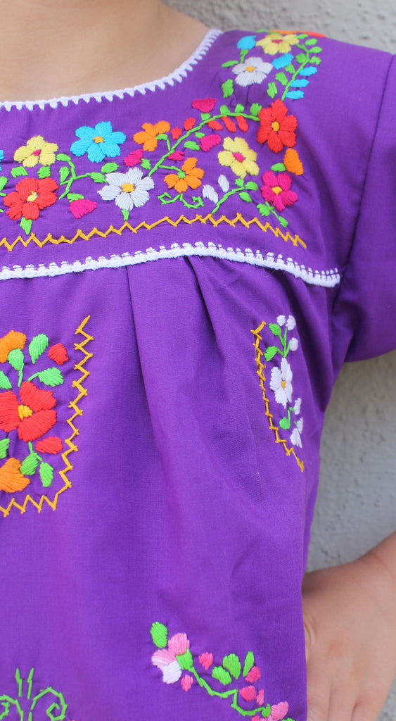Embroidered Youth Dress: Lime & Purple - Del Mex - 5