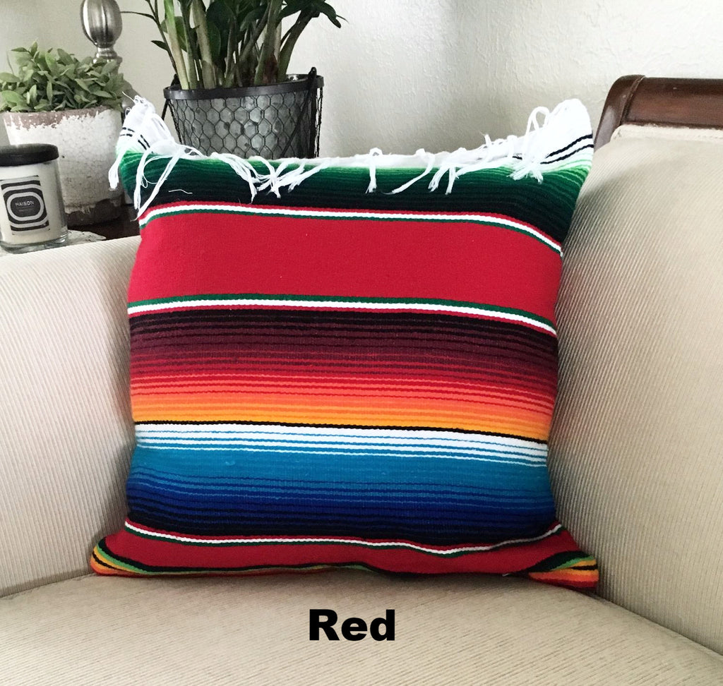 Serape Mexican Blanket Pillow with Fringe - Del Mex - 5