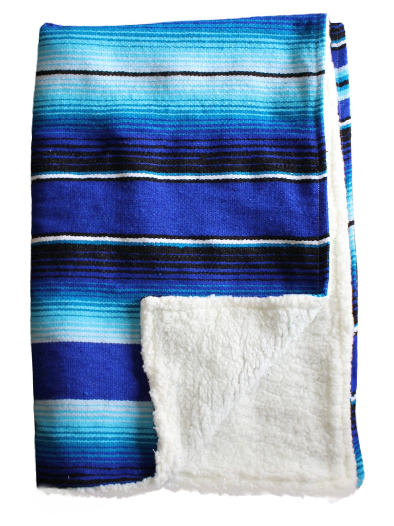 Baja Baby™ Mexican Serape Baby Blanket -Blue & Turquoise