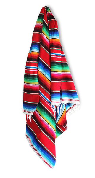 Del Mex Mexican Serape Blanket Red