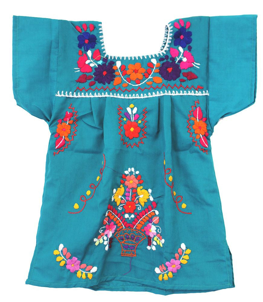 Embroidered Youth Dress: Teal - Del Mex - 2