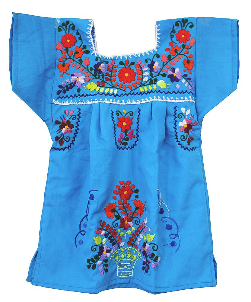 Embroidered Youth Dress: Turquoise - Del Mex - 2