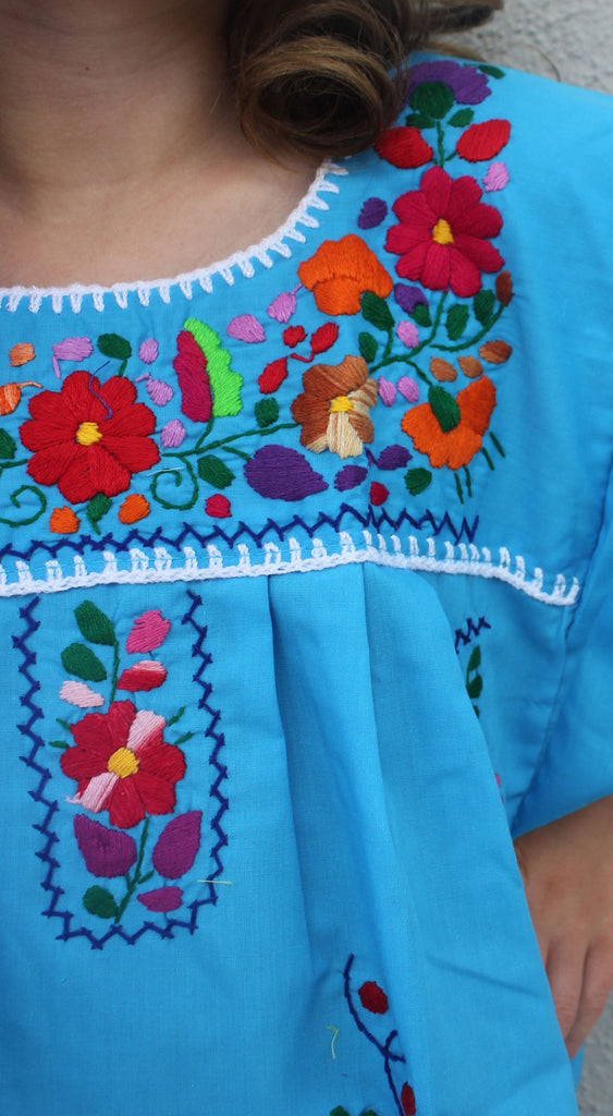 Embroidered Youth Dress: Turquoise - Del Mex - 3