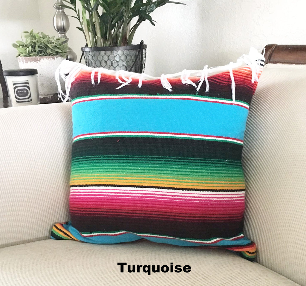 Serape Mexican Blanket Pillow with Fringe - Del Mex - 3