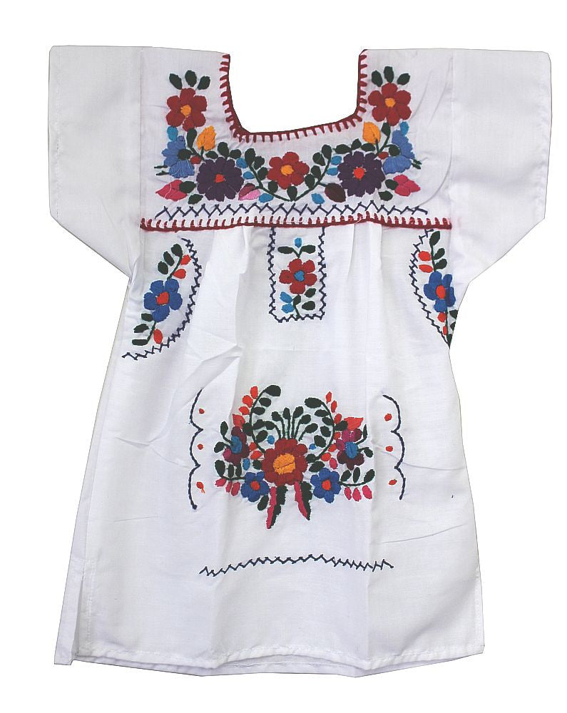 Embroidered Youth Dress: White - Del Mex - 2