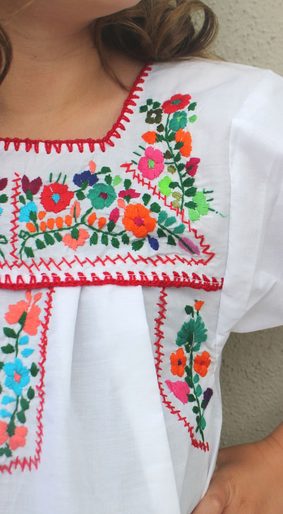 Embroidered Youth Dress: White - Del Mex - 3