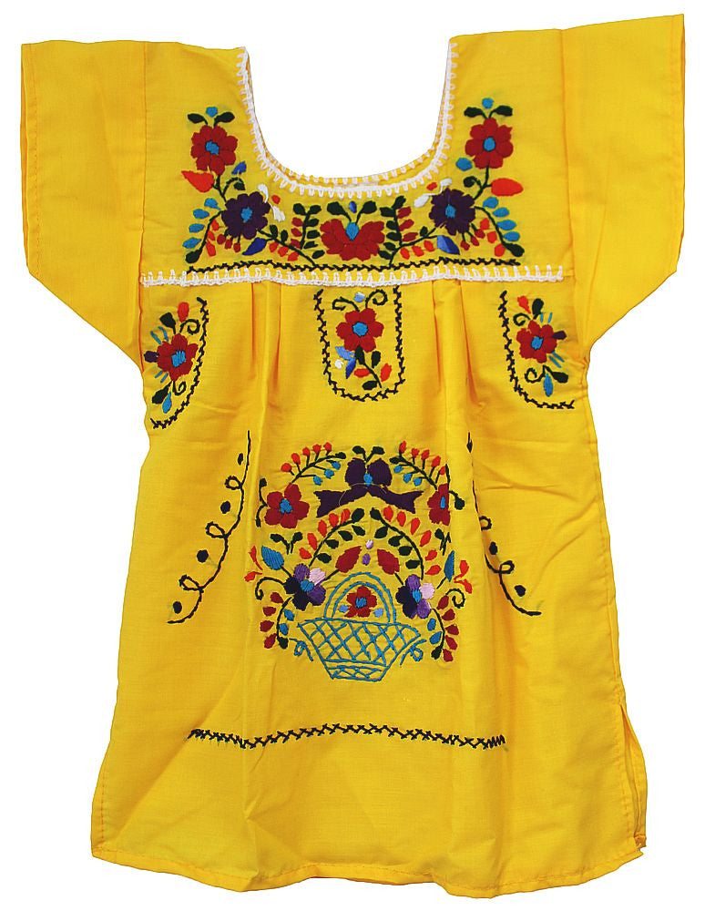 Embroidered Youth Dress: Yellow - Del Mex - 2