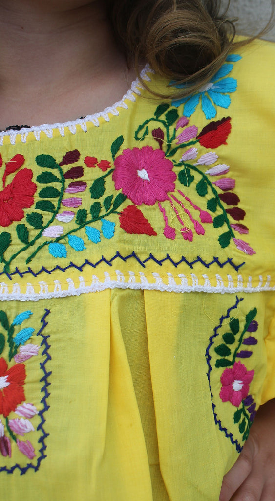 Embroidered Youth Dress: Yellow - Del Mex - 3