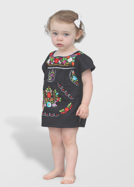 Embroidered Youth Dress: Black - Del Mex - 1