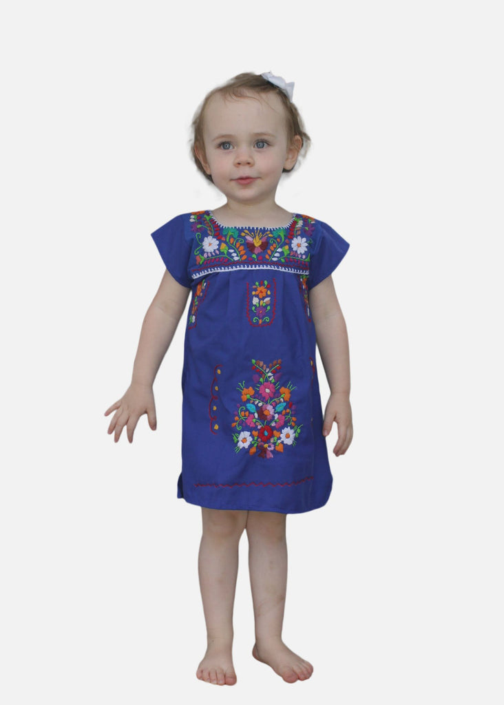Embroidered Youth Dress: Blue - Del Mex - 1