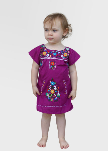 Embroidered Youth Dress: Plum - Del Mex - 1