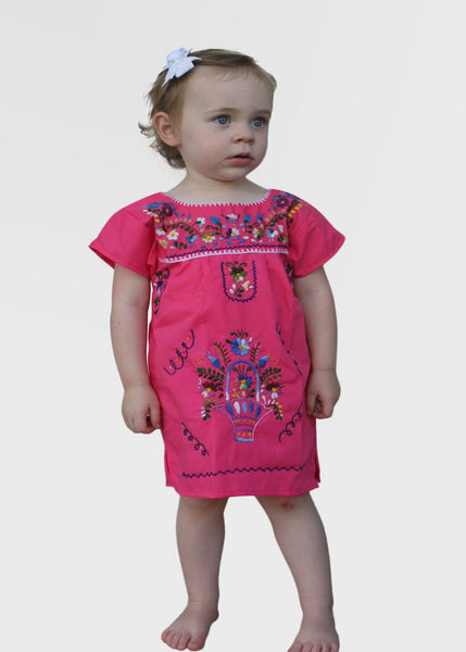 Embroidered Youth Dress: Pink - Del Mex - 1