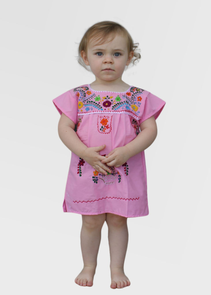 Embroidered Youth Dress: Light Pink - Del Mex - 1