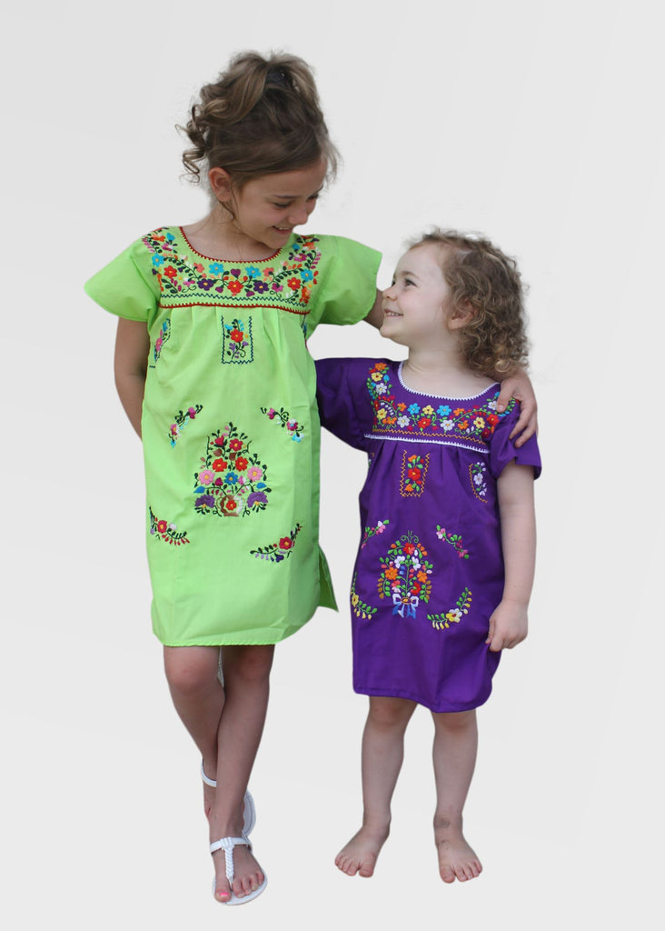 Embroidered Youth Dress: Lime & Purple - Del Mex - 1