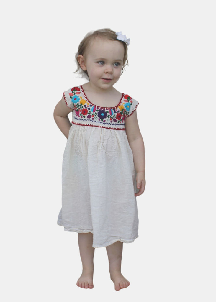 Embroidered Youth Dress: Natural Cotton (Muslin) - Del Mex - 1