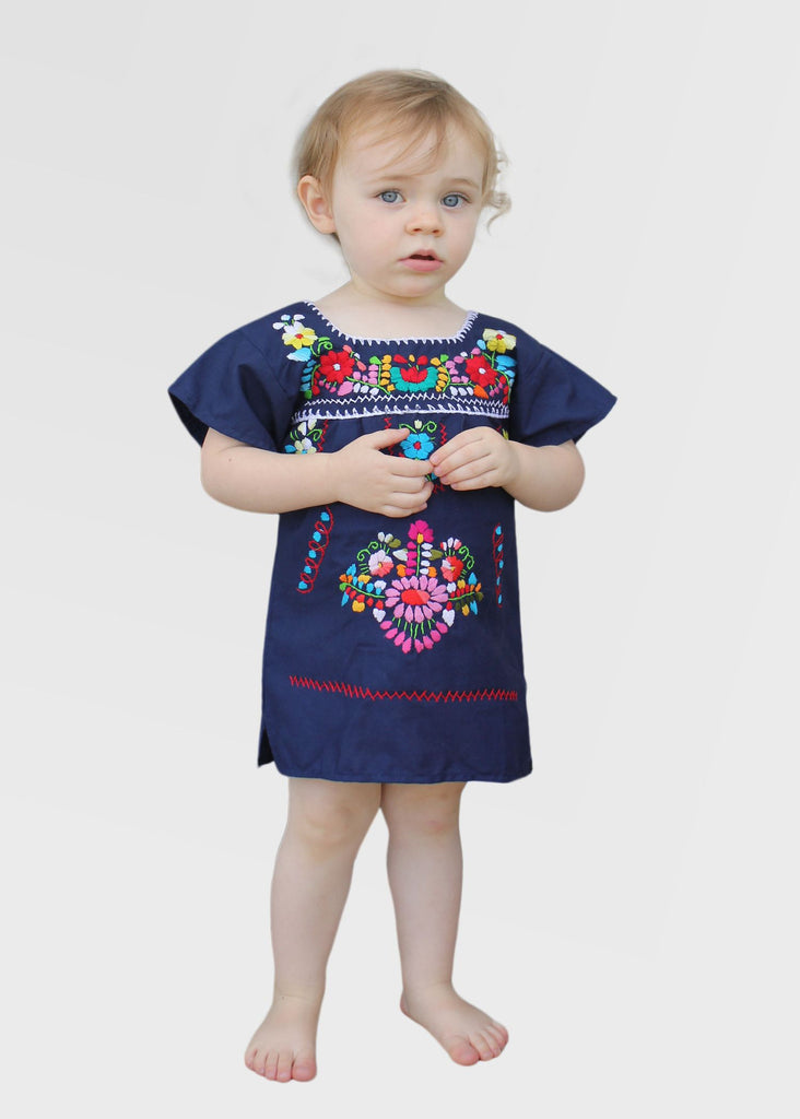 Embroidered Youth Dress: Navy Blue - Del Mex - 1