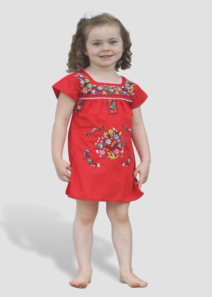 Embroidered Youth Dress: Red - Del Mex - 1