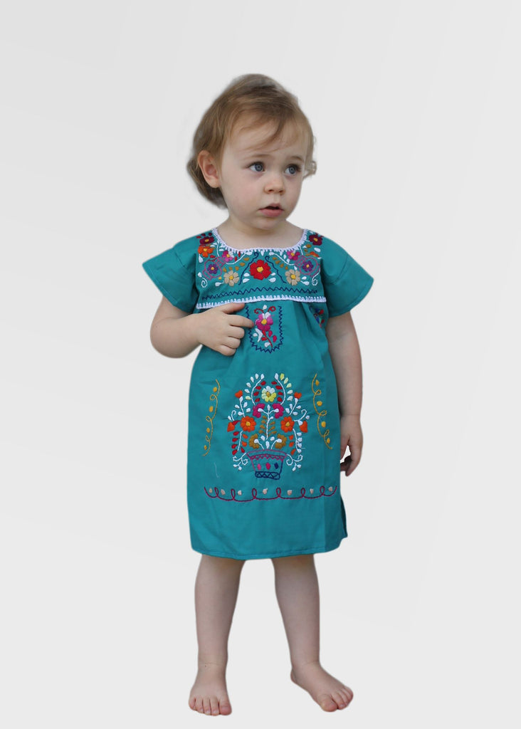 Embroidered Youth Dress: Teal - Del Mex - 1