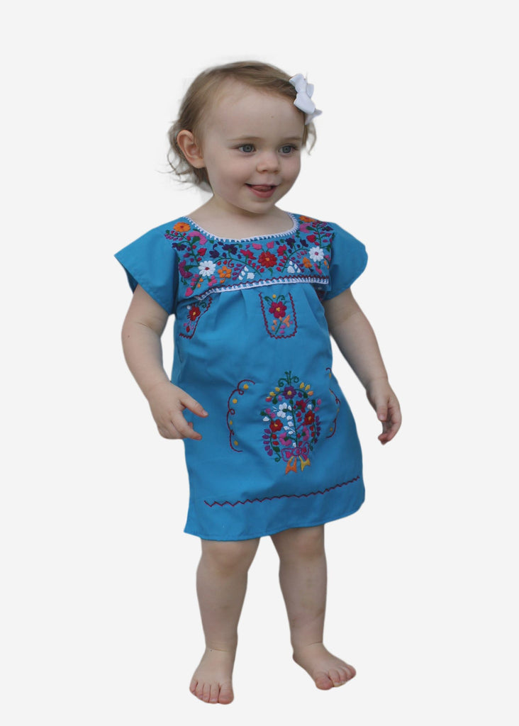 Embroidered Youth Dress: Turquoise - Del Mex - 1