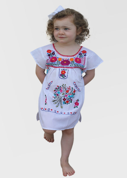 Embroidered Youth Dress: White - Del Mex - 1