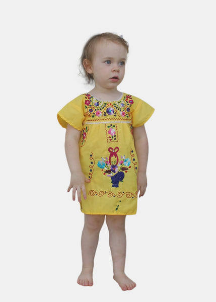 Embroidered Youth Dress: Yellow - Del Mex - 1