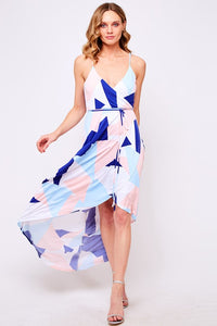 Shape Printed Wrap Dress - The Downtown Dachshund