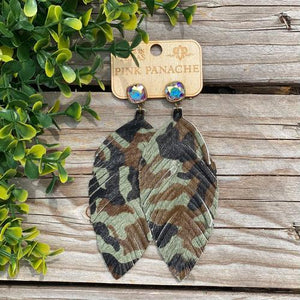 Pink Panache Camo Feather Earrings