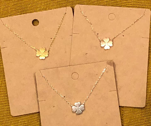 Dainty Clover Necklace- Gold, Silver and Rose Gold - The Downtown Dachshund