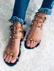 Gladiator Spike Camel Sandals - the-downtown-dachshund