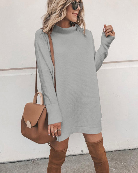 Mock Neck Dress- Black or Grey - The Downtown Dachshund