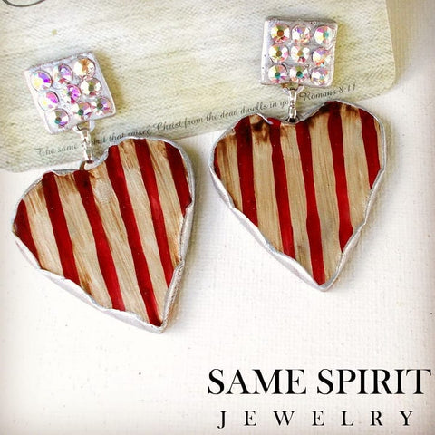 PATRIOTIC - POST BACK EARRINGS - TINY CRYSTAL STUDS WITH RED & WHITE STRIPED HEART - The Downtown Dachshund
