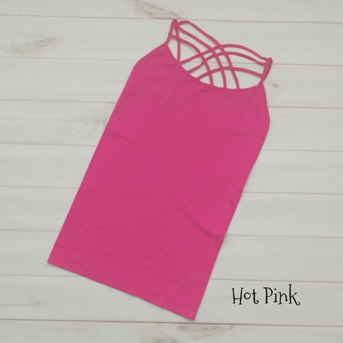 Criss Cross Tank S-3XL Hot Pink - The Downtown Dachshund