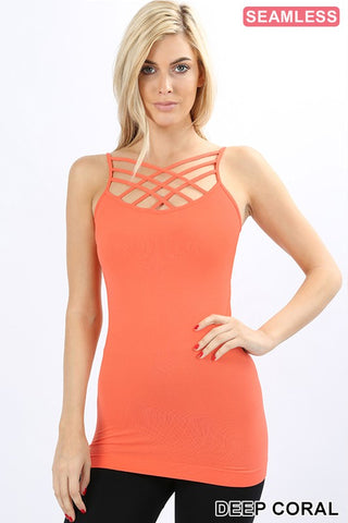 Seamless Triple Criss Cross Cami-Deep Coral (S-XL) - The Downtown Dachshund